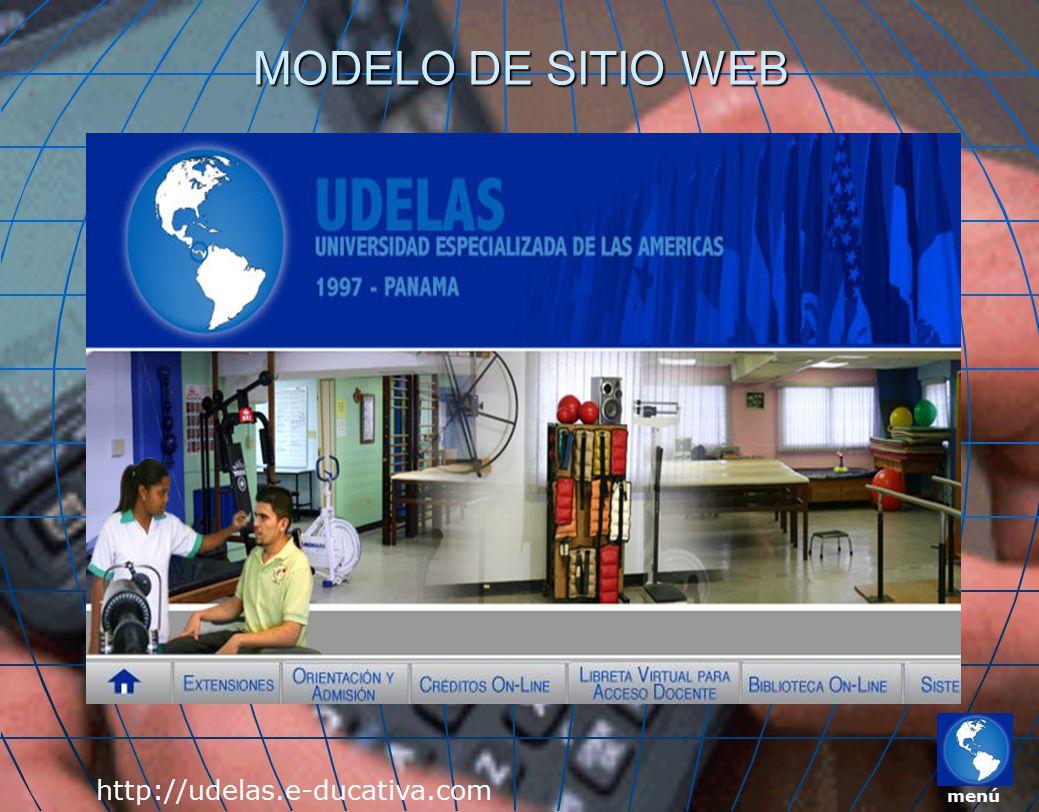 MODELO DE SITIO WEB http://udelas.e-ducativa.com menú