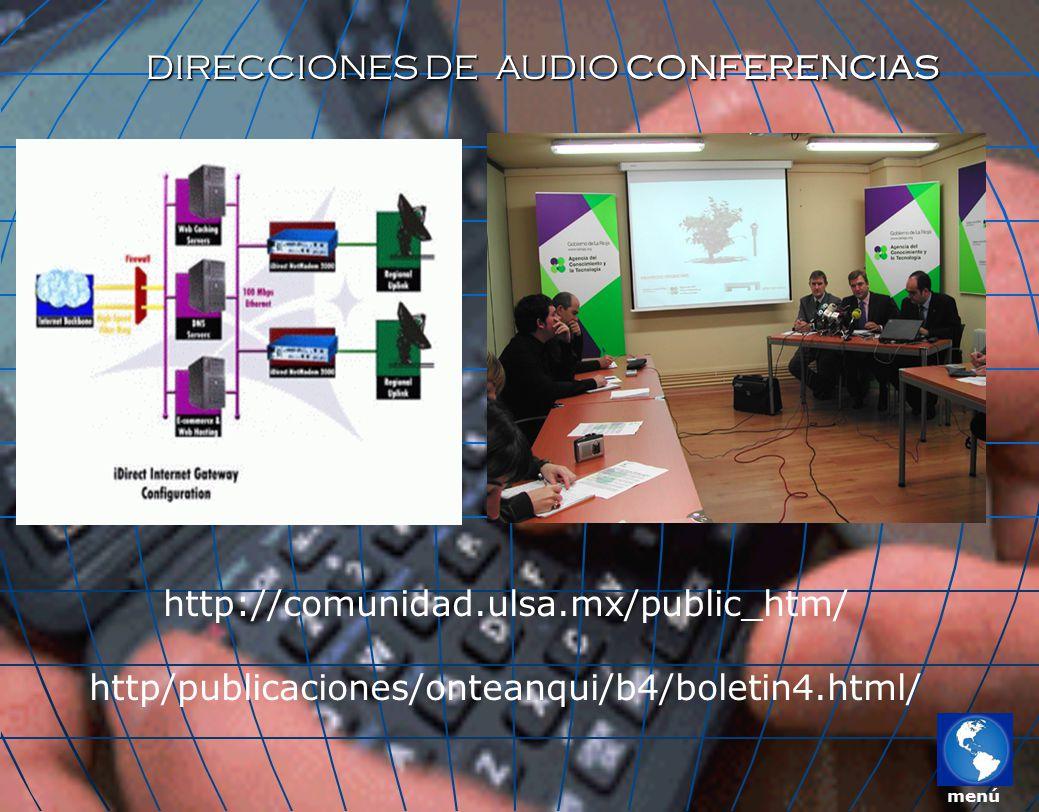 DIRECCIONES DE AUDIO CONFERENCIAS