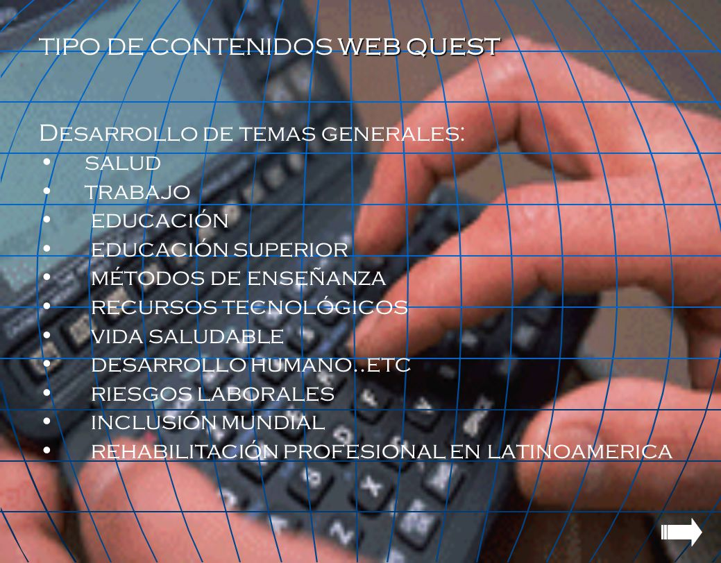 TIPO DE CONTENIDOS WEB QUEST