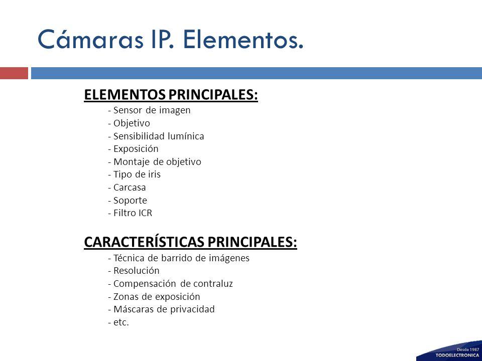 Cámaras IP. Elementos. ELEMENTOS PRINCIPALES: