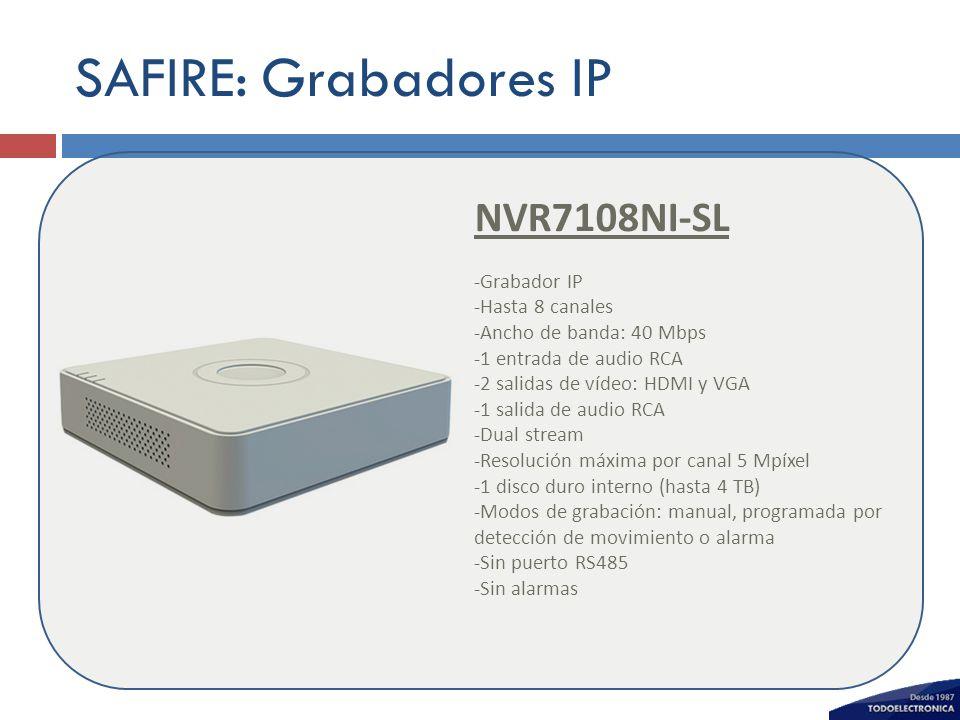 SAFIRE: Grabadores IP NVR7108NI-SL -Grabador IP -Hasta 8 canales