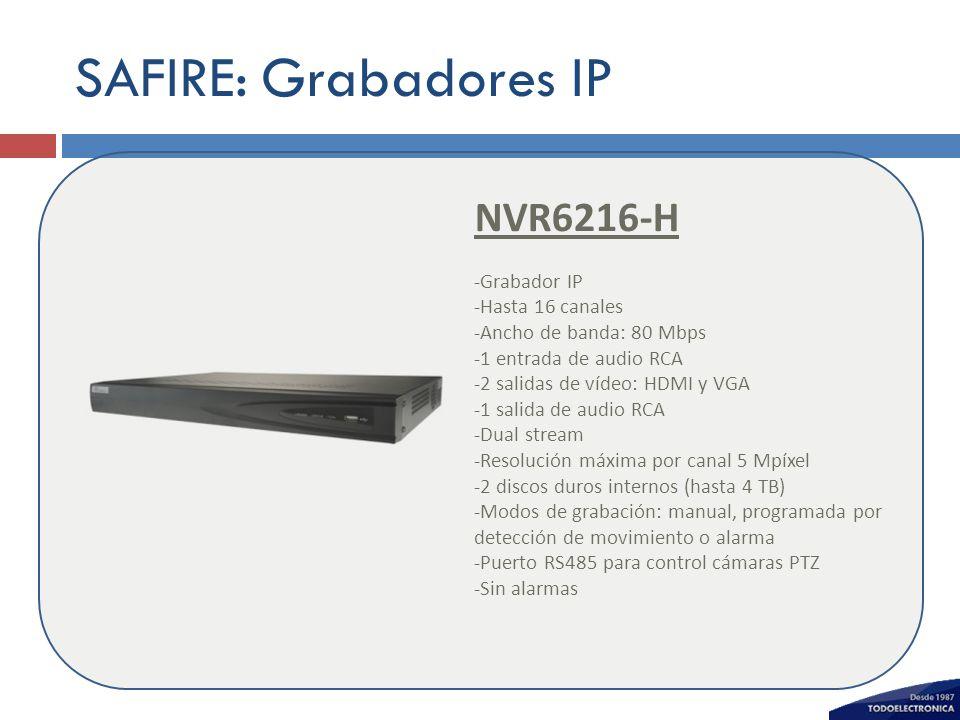 SAFIRE: Grabadores IP NVR6216-H -Grabador IP -Hasta 16 canales