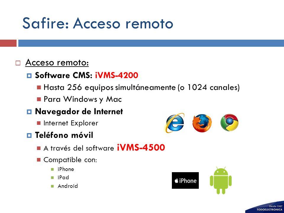 Safire: Acceso remoto Acceso remoto: Software CMS: iVMS-4200