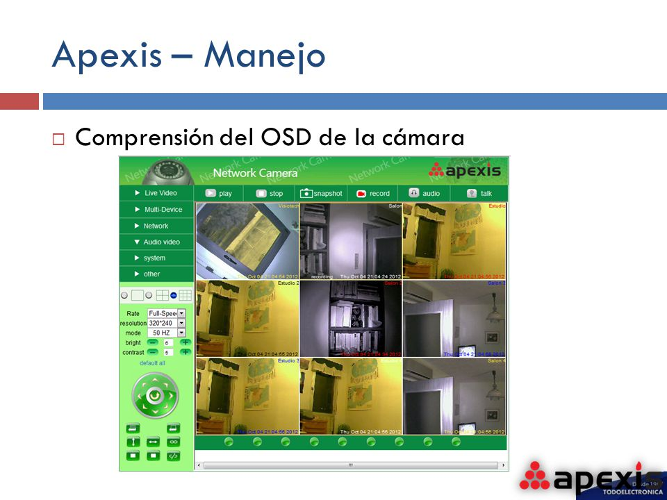 Apexis – Manejo Comprensión del OSD de la cámara