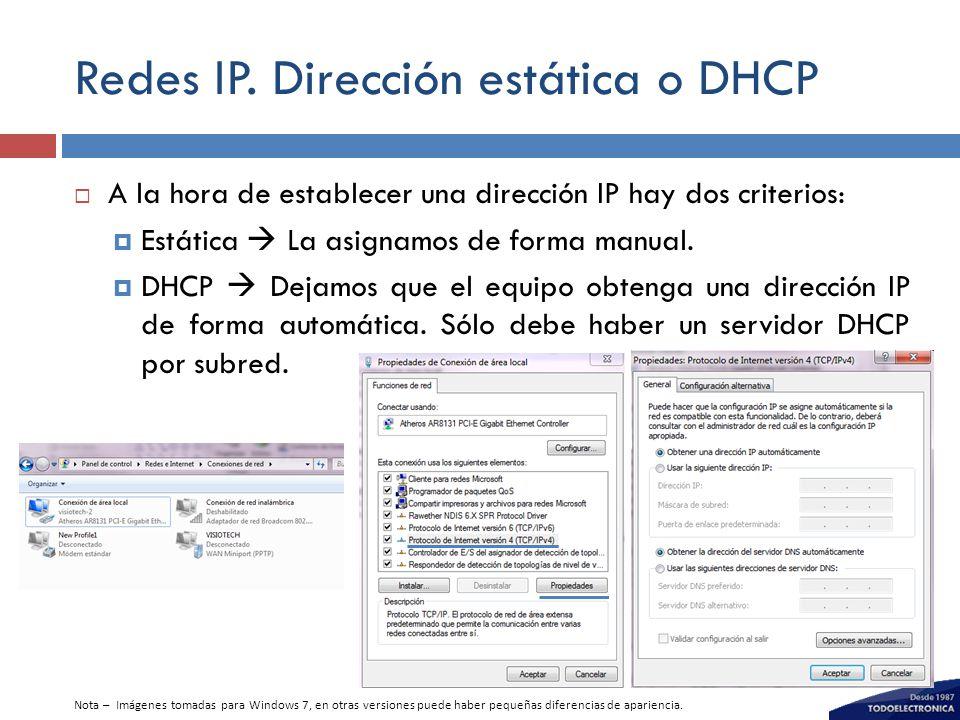 Redes IP. Dirección estática o DHCP