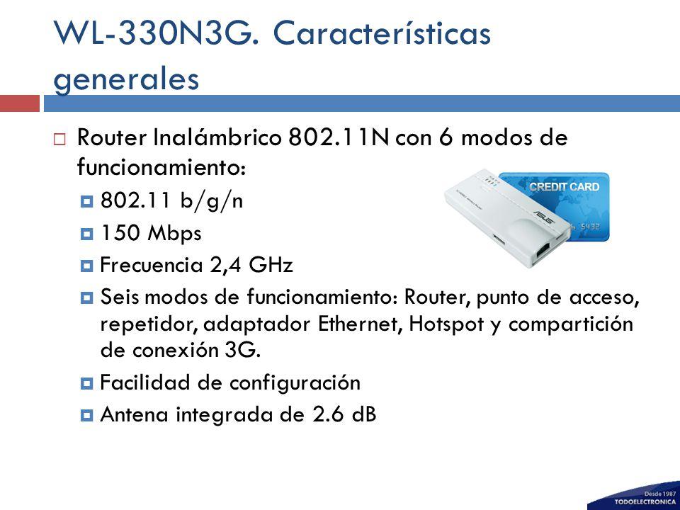 WL-330N3G. Características generales