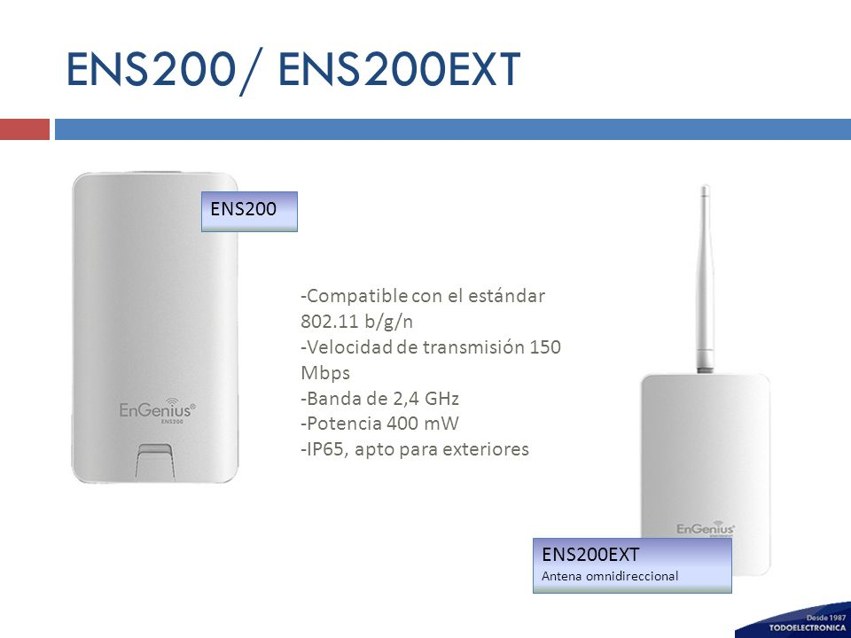 ENS200/ ENS200EXT ENS200 -Compatible con el estándar 802.11 b/g/n