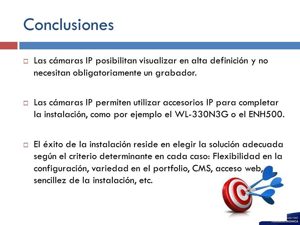 Conclusiones Las cámaras IP posibilitan visualizar en alta definición y no necesitan obligatoriamente un grabador.