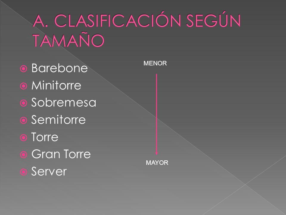 A. CLASIFICACIÓN SEGÚN TAMAÑO