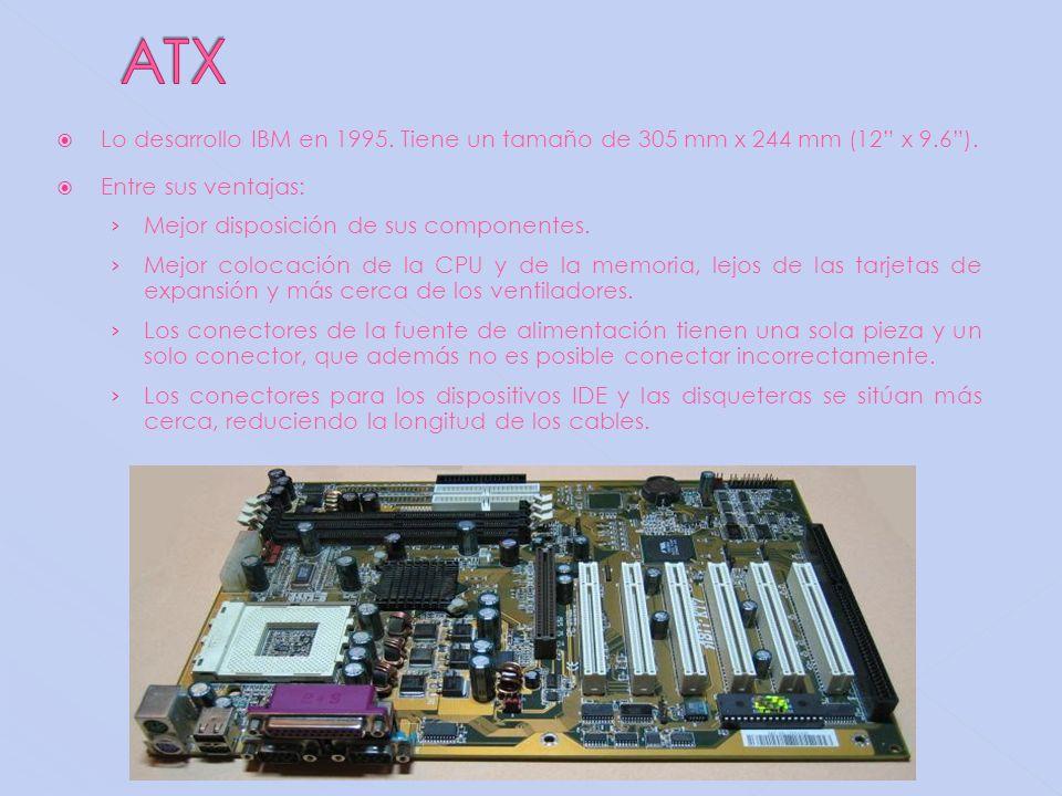 ATX Lo desarrollo IBM en 1995. Tiene un tamaño de 305 mm x 244 mm (12 x 9.6 ). Entre sus ventajas:
