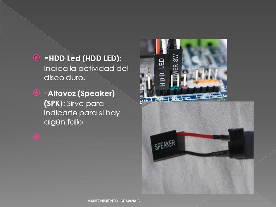 -HDD Led (HDD LED): Indica la actividad del disco duro.