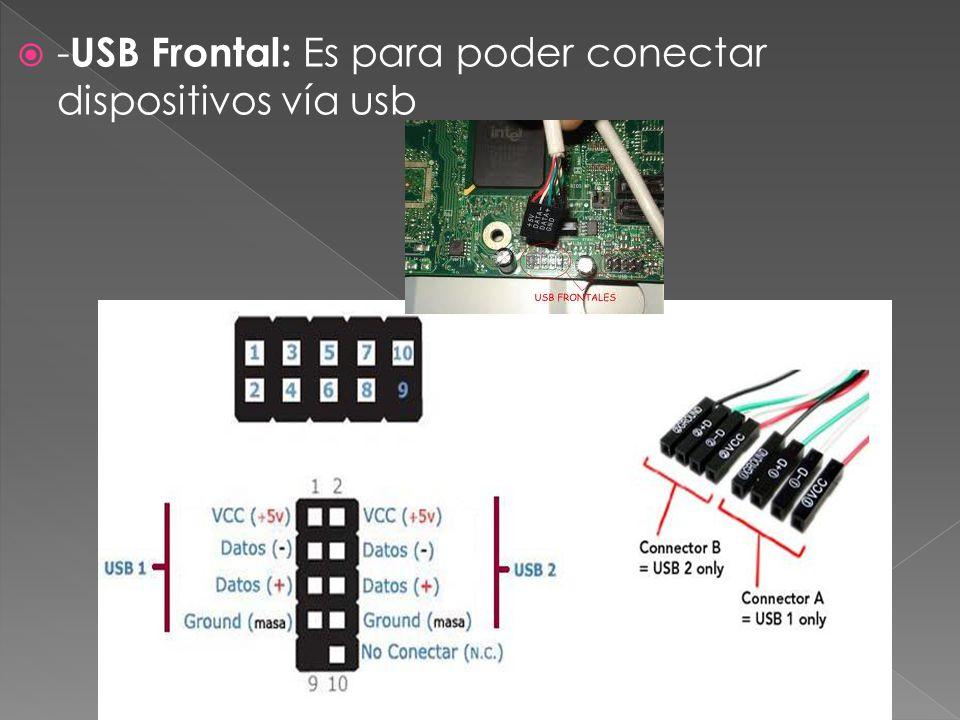 -USB Frontal: Es para poder conectar dispositivos vía usb