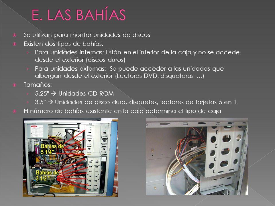 E. LAS BAHÍAS Se utilizan para montar unidades de discos