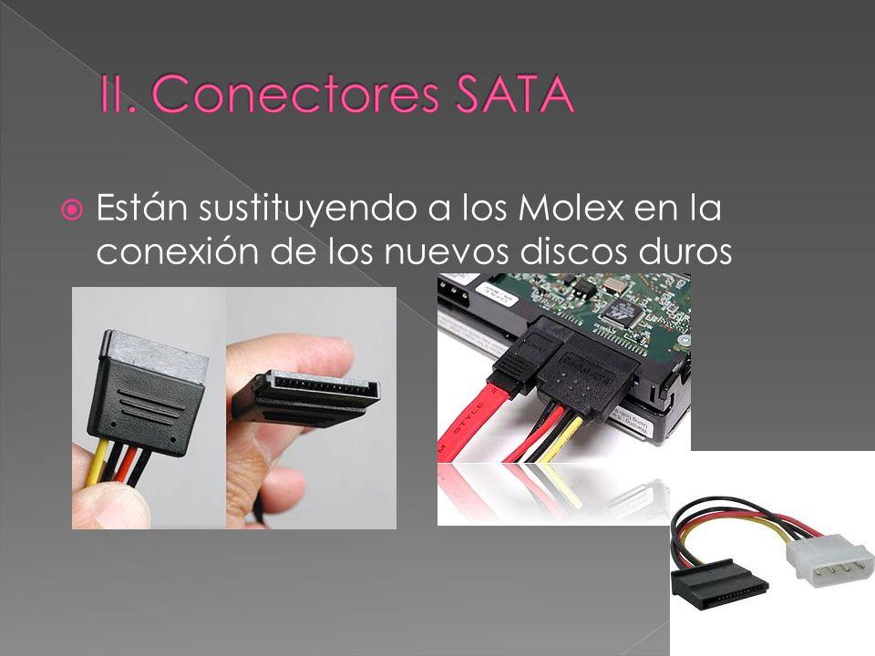 II. Conectores SATA Están sustituyendo a los Molex en la conexión de los nuevos discos duros