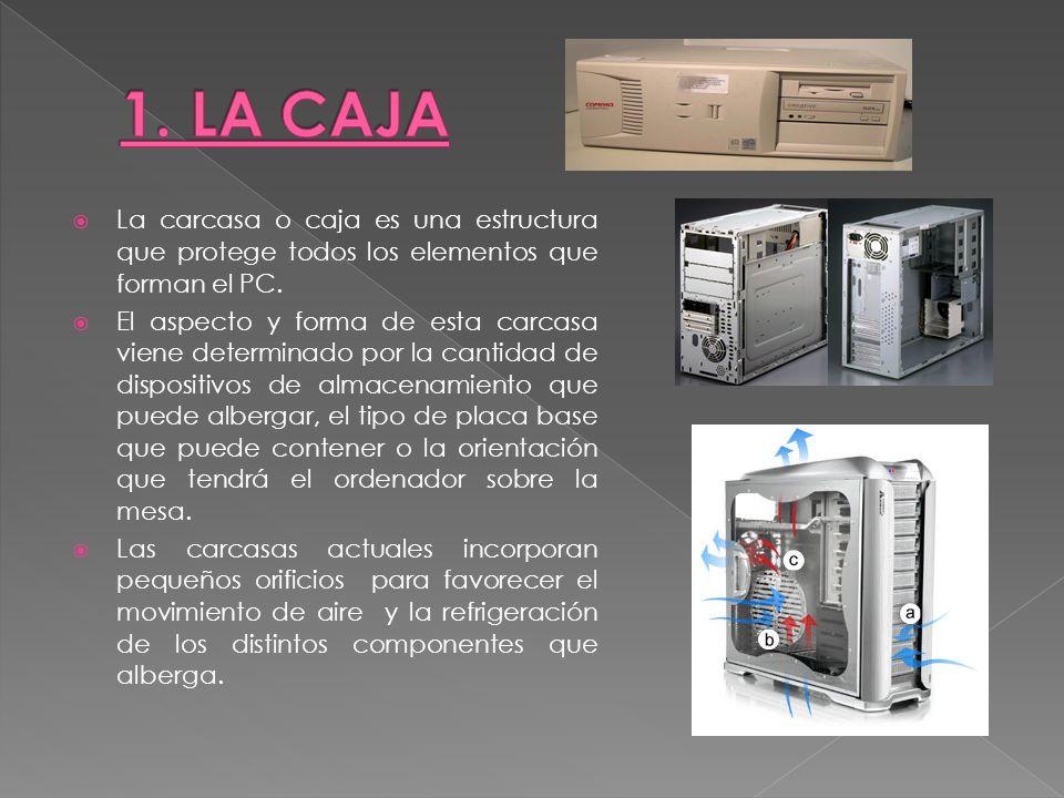 1. LA CAJA La carcasa o caja es una estructura que protege todos los elementos que forman el PC.