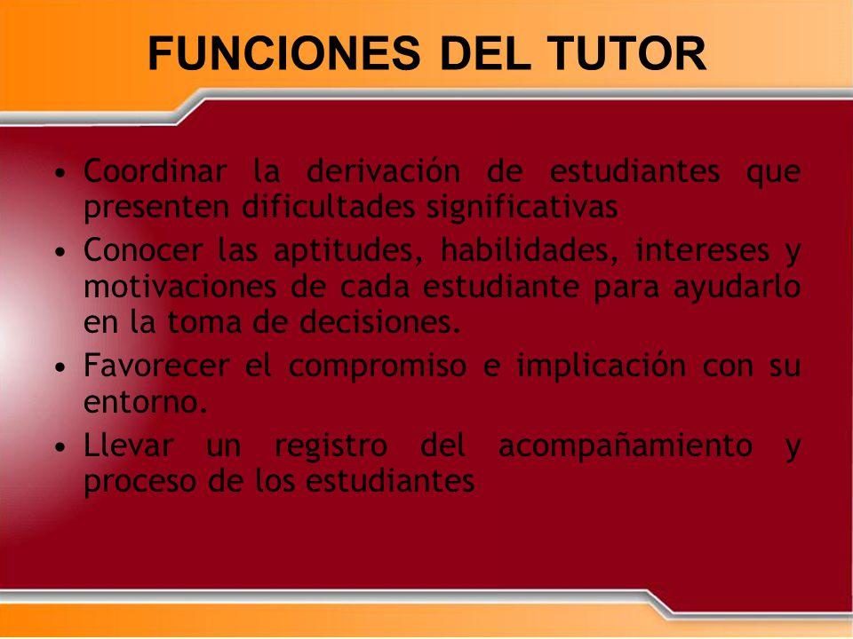 FUNCIONES DEL TUTOR Coordinar la derivación de estudiantes que presenten dificultades significativas.
