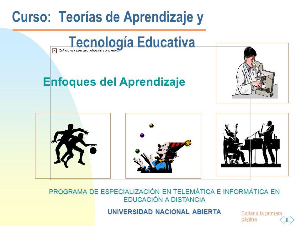 Curso: Teorías de Aprendizaje y Tecnología Educativa