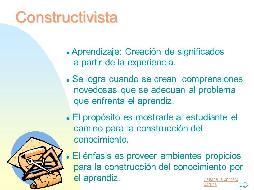 09/04/2017 Constructivista. Aprendizaje: Creación de significados a partir de la experiencia.