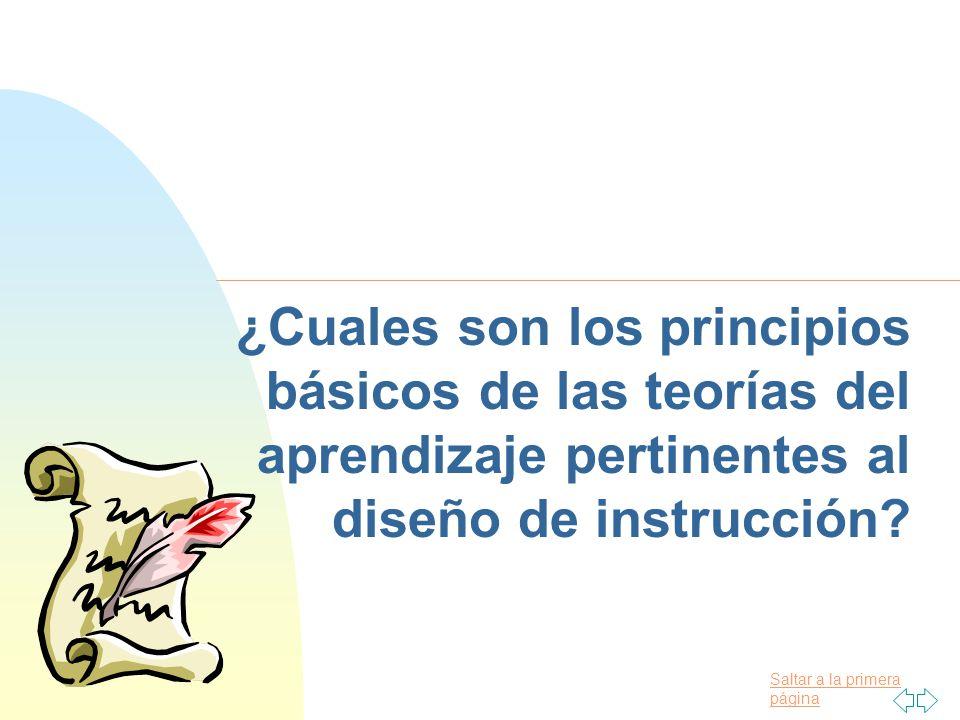 09/04/2017 ¿Cuales son los principios básicos de las teorías del aprendizaje pertinentes al diseño de instrucción