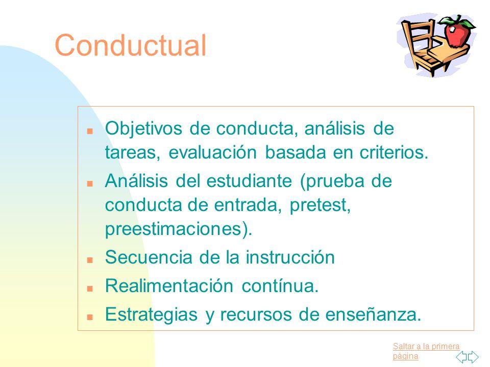 09/04/2017 Conductual. Objetivos de conducta, análisis de tareas, evaluación basada en criterios.