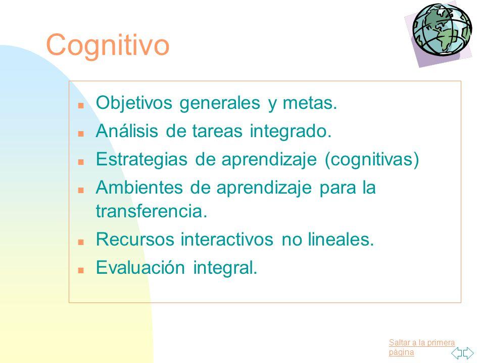Cognitivo Objetivos generales y metas. Análisis de tareas integrado.
