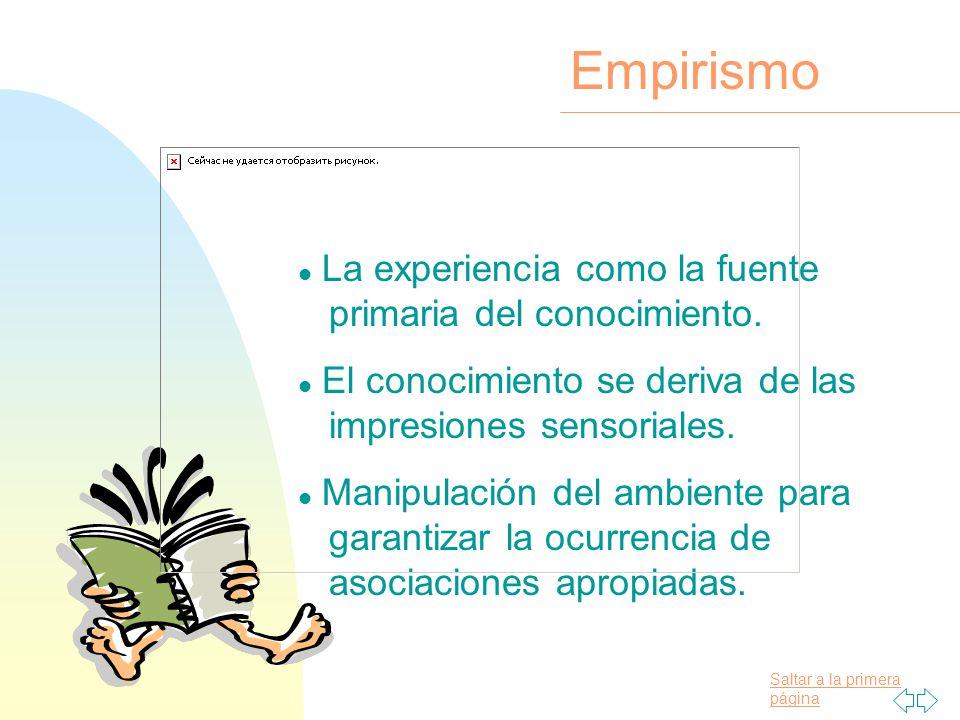 Empirismo La experiencia como la fuente primaria del conocimiento.