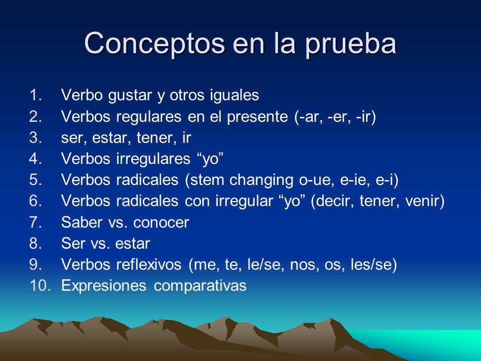 Conceptos en la prueba Verbo gustar y otros iguales