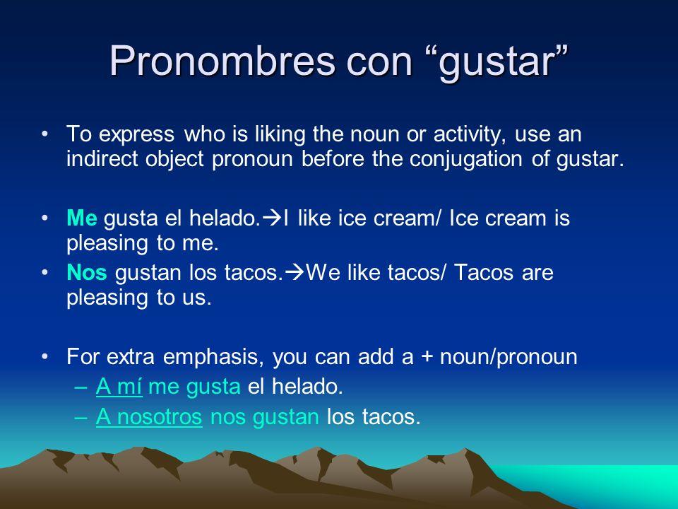 Pronombres con gustar