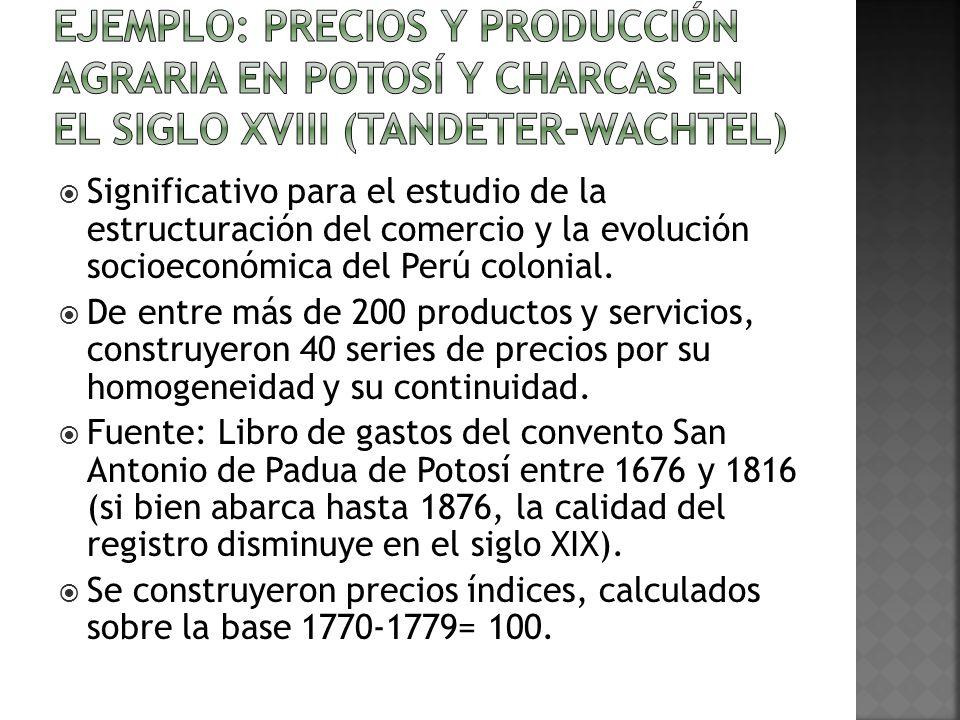 Ejemplo: Precios y producción agraria en Potosí y Charcas en el siglo XVIII (Tandeter-Wachtel)