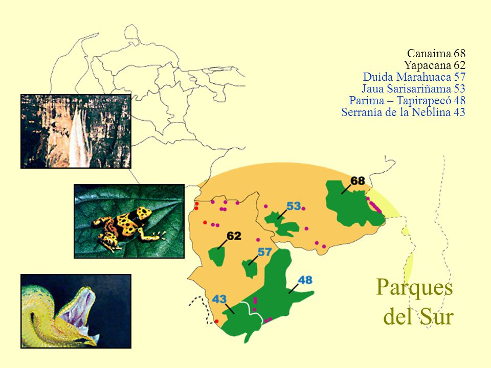 Parques del Sur Canaima 68 Yapacana 62 Duida Marahuaca 57