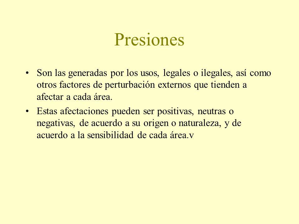 Presiones Son las generadas por los usos, legales o ilegales, así como otros factores de perturbación externos que tienden a afectar a cada área.