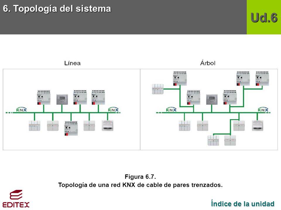 Topología de una red KNX de cable de pares trenzados.