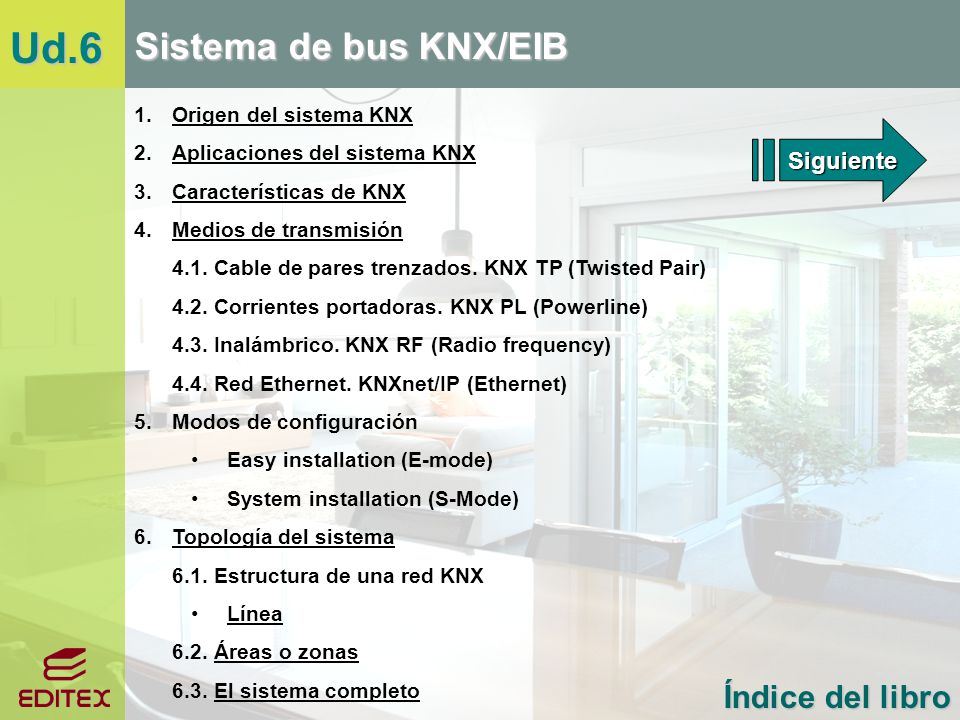 Ud.6 Sistema de bus KNX/EIB Índice del libro 1. Origen del sistema KNX