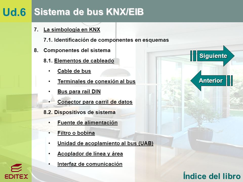 Ud.6 Sistema de bus KNX/EIB Índice del libro 7. La simbología en KNX