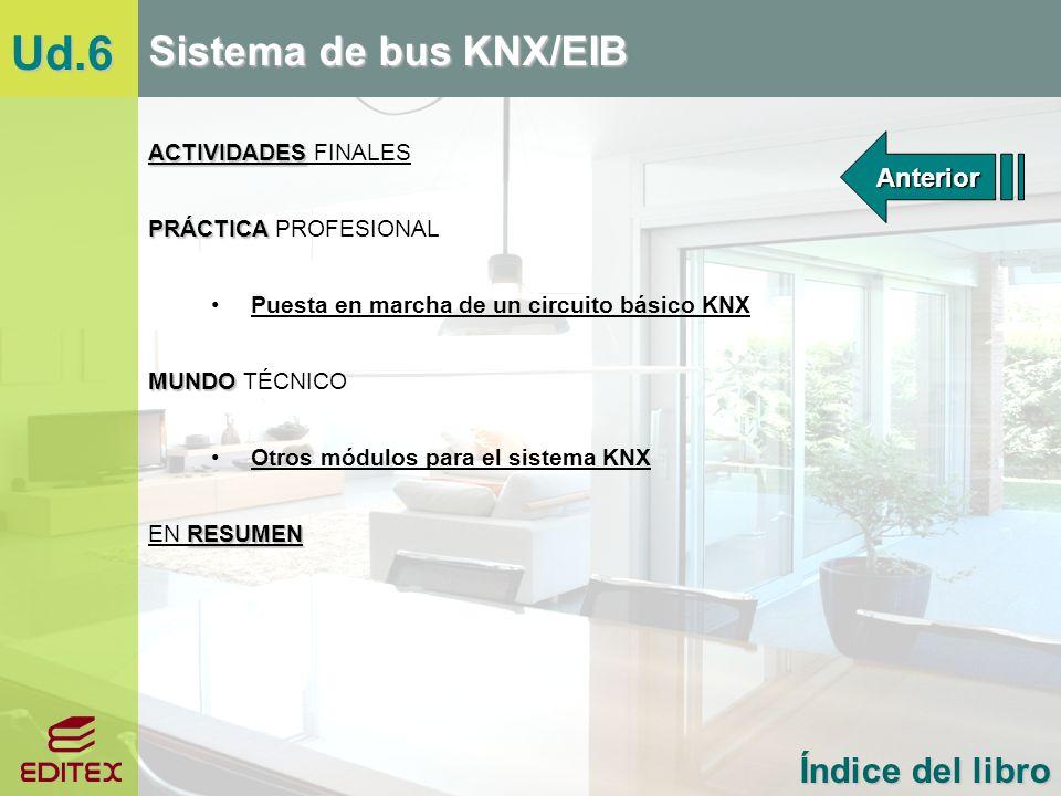 Ud.6 Sistema de bus KNX/EIB Índice del libro ACTIVIDADES FINALES