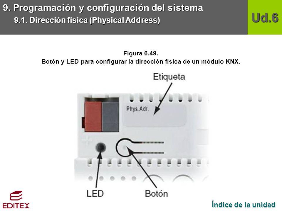 Botón y LED para configurar la dirección física de un módulo KNX.
