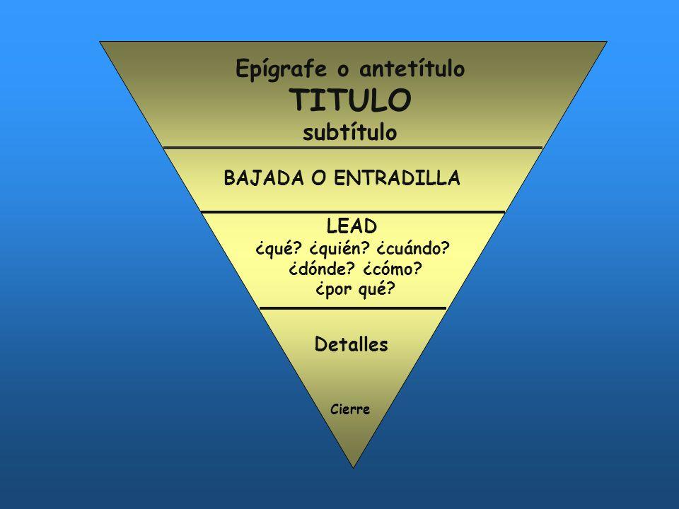 TITULO Epígrafe o antetítulo subtítulo BAJADA O ENTRADILLA LEAD