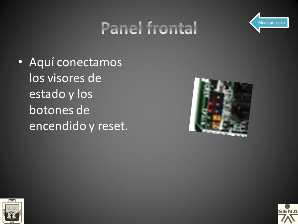 Panel frontal Menú principal.