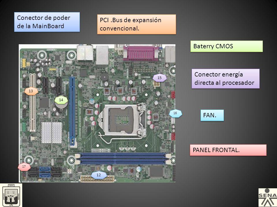 Conector de poder de la MainBoard PCI .Bus de expansión convencional.