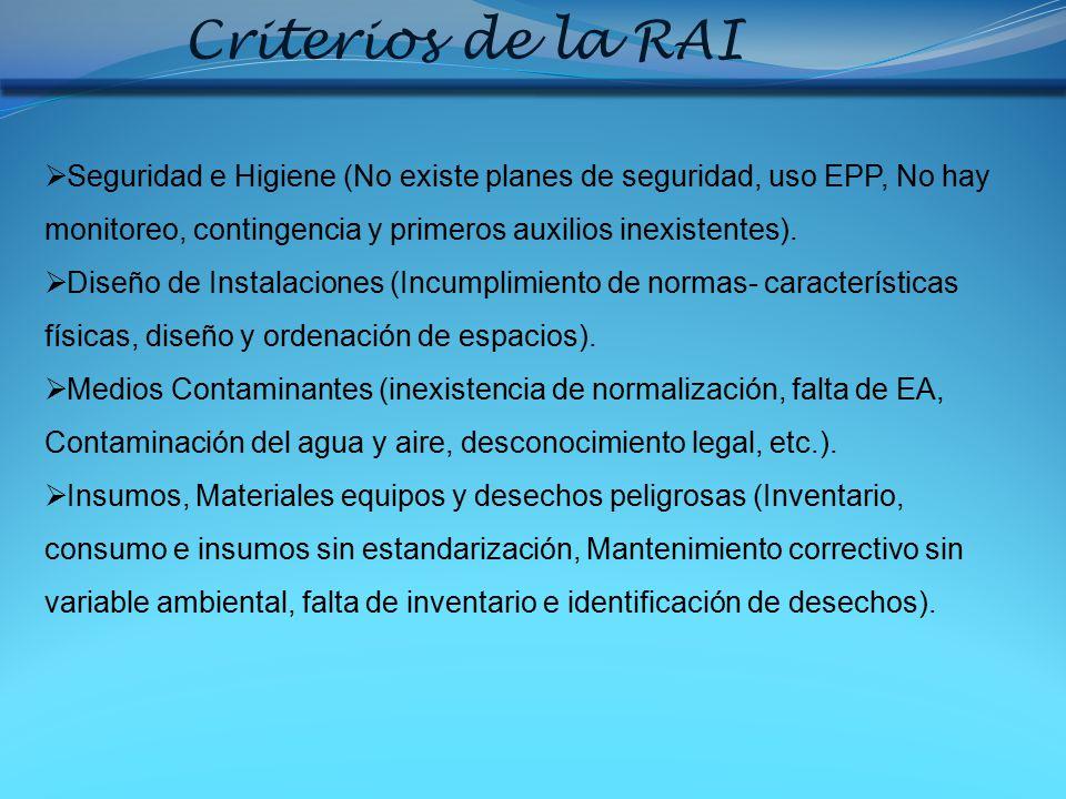 Criterios de la RAI Seguridad e Higiene (No existe planes de seguridad, uso EPP, No hay monitoreo, contingencia y primeros auxilios inexistentes).