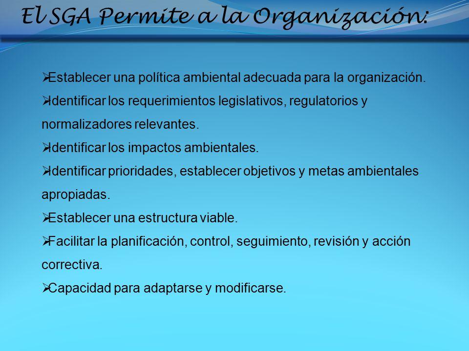 El SGA Permite a la Organización: