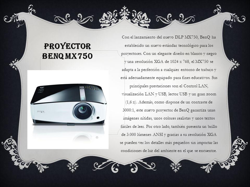 Con el lanzamiento del nuevo DLP MX750, BenQ ha establecido un nuevo estándar tecnológico para los proyectores. Con un elegante diseño en blanco y negro y una resolución XGA de 1024 x 768, el MX750 se adapta a la perfección a cualquier entorno de trabajo y está adecuadamente equipado para fines educativos. Sus principales prestaciones son el Control LAN, visualización LAN y USB, lector USB y un gran zoom (1,6 x). Además, como dispone de un contraste de 3000:1, este nuevo proyector de BenQ garantiza unas imágenes nítidas, unos colores realistas y unos textos fáciles de leer. Por otro lado, también presenta un brillo de 3.000 lúmenes ANSI y gracias a su resolución XGA se pueden ver los detalles más pequeños sin importar las condiciones de luz del ambiente en el que se encuentre.