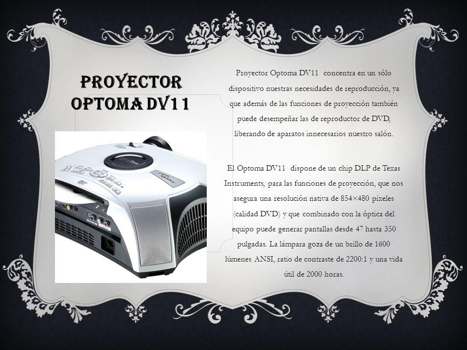 Proyector Optoma DV11 concentra en un sólo dispositivo nuestras necesidades de reproducción, ya que además de las funciones de proyección también puede desempeñar las de reproductor de DVD, liberando de aparatos innecesarios nuestro salón.