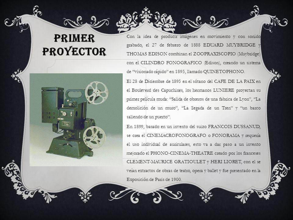 Con la idea de producir imágenes en movimiento y con sonido grabado, el 27 de febrero de 1888 EDUARD MUYBRIDGE y THOMAS EDISON combinan el ZOOPRAXISCOPIO (Muybridge) con el CILINDRO FONOGRAFICO (Edison), creando un sistema de visionado rápido en 1895, llamado QUINETOPHONO.