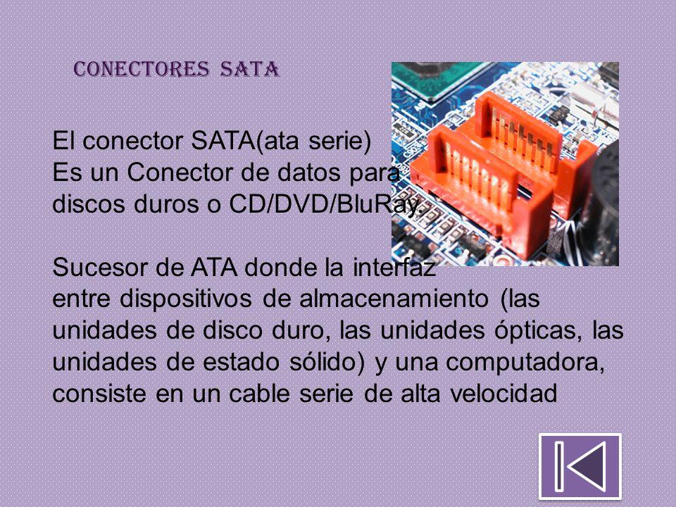 El conector SATA(ata serie) Es un Conector de datos para