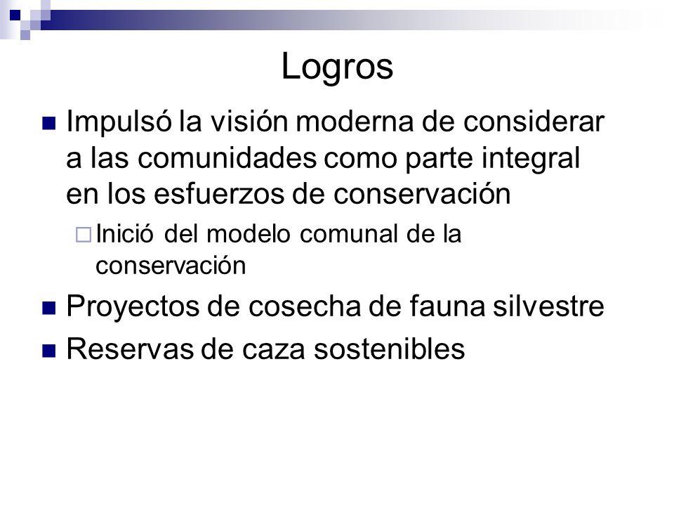 Logros Impulsó la visión moderna de considerar a las comunidades como parte integral en los esfuerzos de conservación.