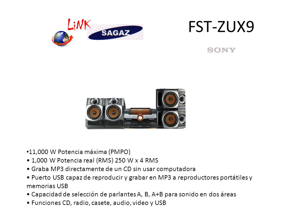 FST-ZUX9 11,000 W Potencia máxima (PMPO)