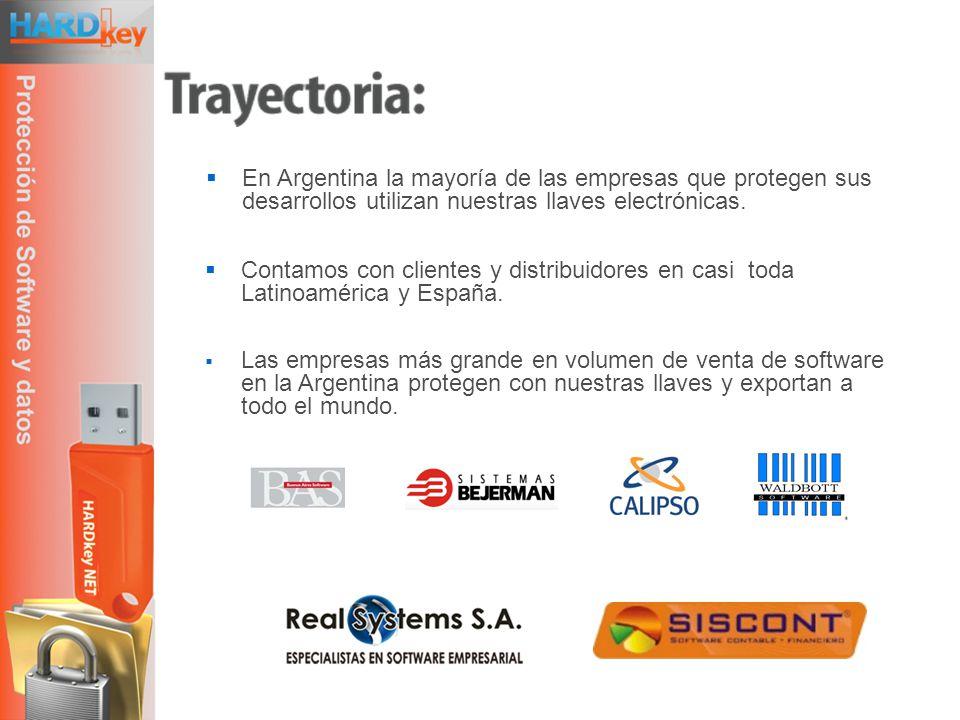 En Argentina la mayoría de las empresas que protegen sus desarrollos utilizan nuestras llaves electrónicas.