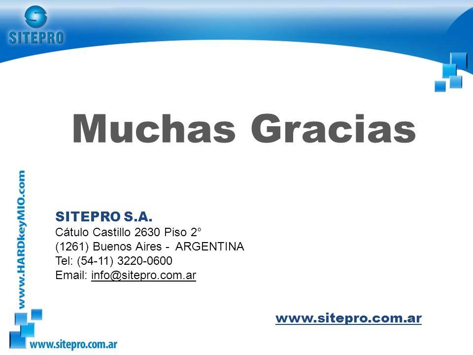 Muchas Gracias SITEPRO S.A. www.sitepro.com.ar