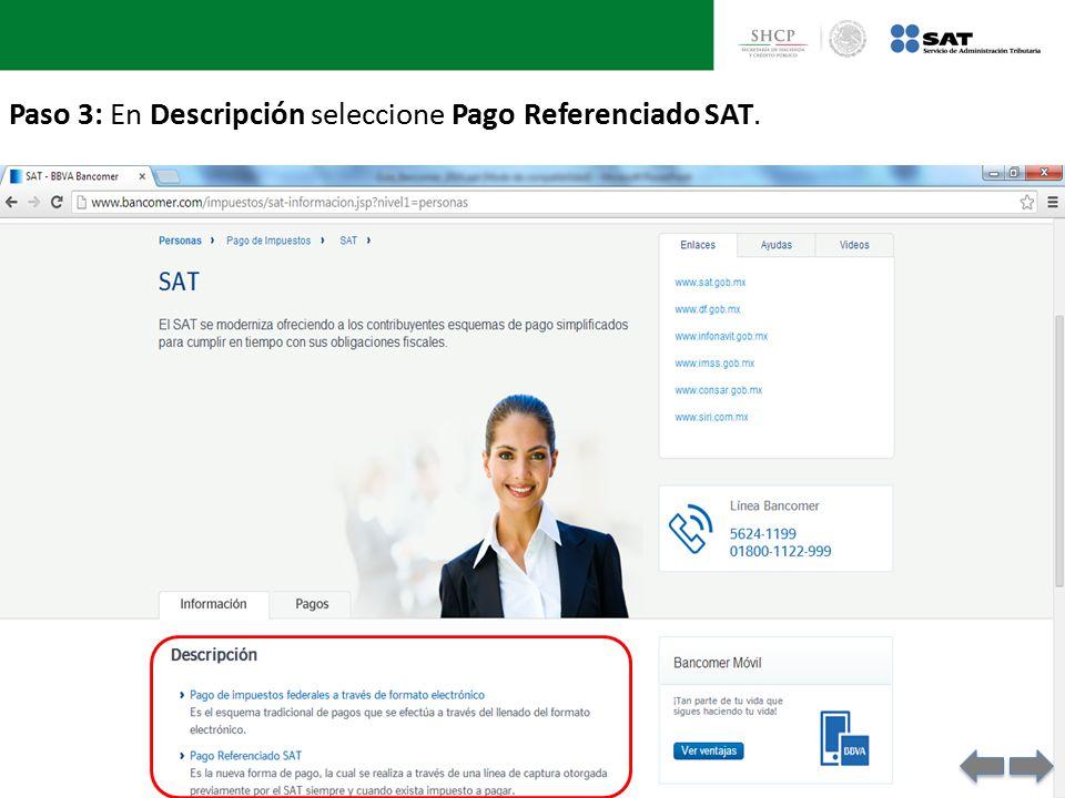 Paso 3: En Descripción seleccione Pago Referenciado SAT.